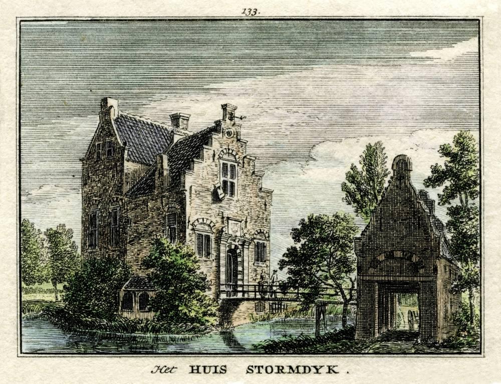 Kasteel Stormerdijk in Nieuwegein. Tekening Jan de Beijer, gravure Hendrik Spilman (Uit: Het Verheerlykt Nederland, Isaac Tirion, 1745/1774)
